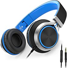AILIHEN C8 Headphones with Microphone and Volume Control Folding Lightweight Headset for Cellphones Tablets Smartphones Laptop Computer PC Mp3/4 (Black/Blue)