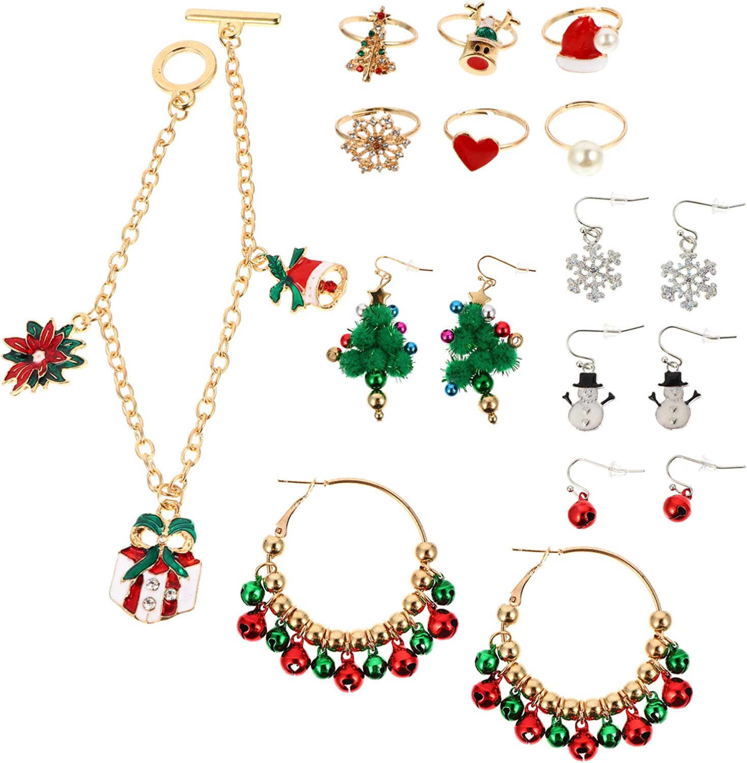 NUOBESTY 5 Sets of Christmas Jingle Bell Jewelry Set Rings Bracelet Dangle Earrings Christmas Costume Jewelry Set for Christmas Party Favors