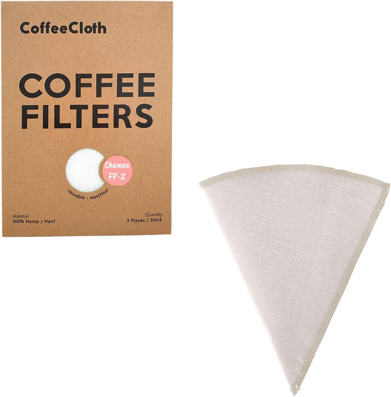 Earthtopia 3 Pack de Filtros De Café Reutilizables De Tela  100% Cáñamo   Bolsas De Filtro de Café Y Eco-Amigables   Filtros Permanentes (adecuado para Chemex FP-2)