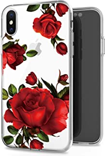 JAHOLAN iPhone X Case iPhone Xs Case Cute Girl Floral Design Clear TPU Soft Slim Flexible Silicone Cover Phone Case Compatible with iPhone X iPhone Xs - Big Red Rose