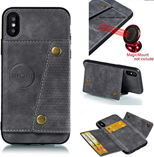 iPhone X Case,iPhone Xs Case with Flip Card Holder Design for Apple iPhone X (2017) / iPhone Xs (2018) Gray