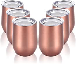 Stainless Steel Stemless Wine Tumbler Funny Wine Glasses with Lid Double Wall Vacuum Insulated Wine Cup for Wine, Champagne, Cocktails, Soda, Whiskey and Beer Set of 6 Rose Gold 12 Oz
