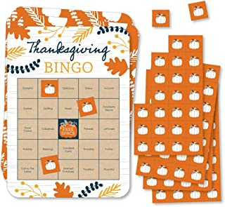 Big Dot of Happiness Happy Thanksgiving - Bingo Cards and Markers - Fall Harvest Party Bingo Game - Set of 18