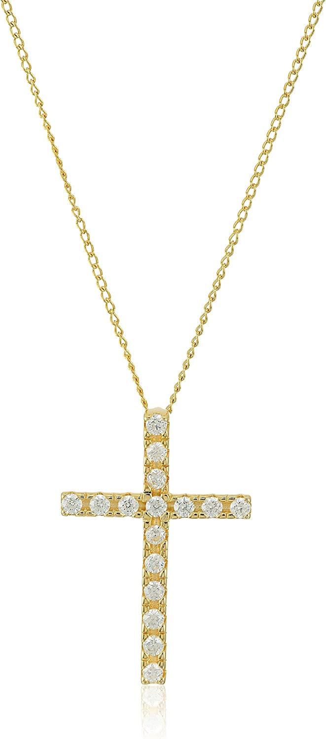 42mm x 33mm Solid 925 Sterling Silver CZ Cubic Zirconia Cross Pendant Charm