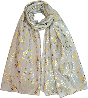 Lina & Lily Gold Glitters Floral Pattern Scarf Shawl Hijab