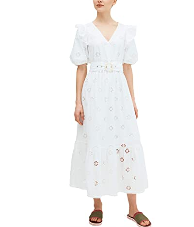 Kate Spade New York Spade Clover Eyelet Dress (Fresh White) Women