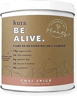 Kura Plant Based Protein Wellness Powder, Chai Spice, 15g Protein, 23 Vitamins & Minerals, NZ Superfoods, Non-GMO, Gluten Free, Stevia Free, New Zealand Born (14.3 Ounce)