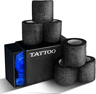 Tattoo Grip Tape/Self-Adhesive Wrap, Self-Adherent Bandage, Breathable, With Box Of Tattoo Clip Cord Cover Sleeve Bags for...
