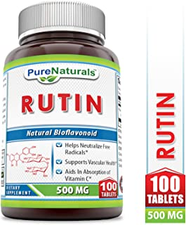 Pure Naturals Rutin 500 Mg Tablets (Non-GMO)- Helps Neutralize Free Radicals* Supports Vascular Health* Aids in Absorption of Vitamin C* (100 Count)
