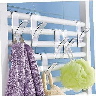 Amoyer 12 Piezas Y Forma de Gancho suspensión de la Toalla para toallero radiador Tubular Bath Holder Hook Rack de Almacenamiento Bath Hook