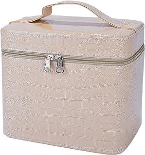 Makeup Train Case,COOFIT Portable Travel Makeup Case Crocodile Pattern Leather Beauty Box for Women Large Beige