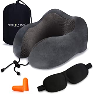 Pon Travel Pillow Luxury Memory Foam Neck & Head Support Pillow Soft Sleeping Rest Cushion Airplane Car & Home Best Gift(Grey)