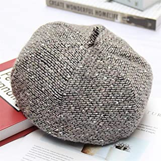 SHENTIANWEI 2019 Korean Version of The New Octagonal Cap Japanese Literary Retro Casual Warm Pumpkin hat Female Autumn and Winter Knit Beret (Color : Grey, Size : Adjustable)
