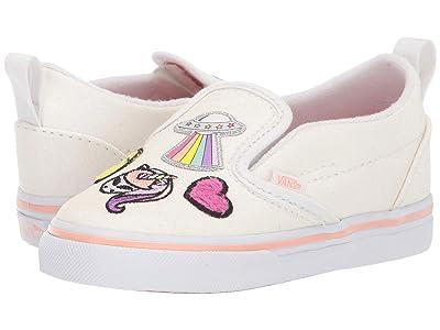 Vans Kids Slip-On V (Infant/Toddler) ((Unicorn Alien) Glitter/True White) Girls Shoes