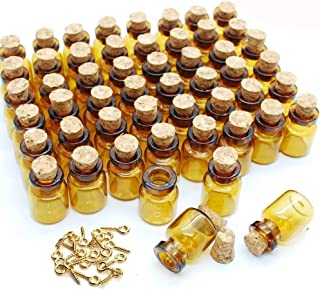 JKLcom 0.5 ml Small Mini Glass Bottles with Corks Dark Brown Small Corks Bottles Amber Glass Vials for Party Wedding Jewelry Making Miniature Altered Art,50 Pcs