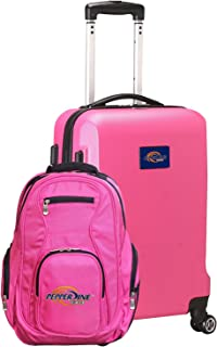 NCAA L104 Deluxe 2-Piece Backpack and Carry-On Luggage Set (Pink, Pepperdine Waves )