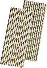 Gold and White Paper Straws - Stripe and Chevron - 7.75 Inches - 50 Pack - Outside the Box Papers Brand