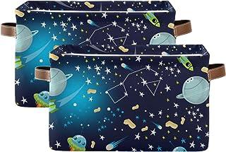 QMIN Lot de 2 paniers de rangement pliables avec motif étoile, planète et étoiles