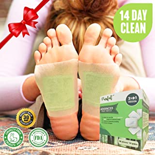2 in 1 Foot Pads for Cleansing, Better Sleep, Stress Relieve, Increased Energy - 28 Premium Bamboo Vinegar Patches - All Natural and Organic Ingredients, FDA Certified, Strongest Adhesive