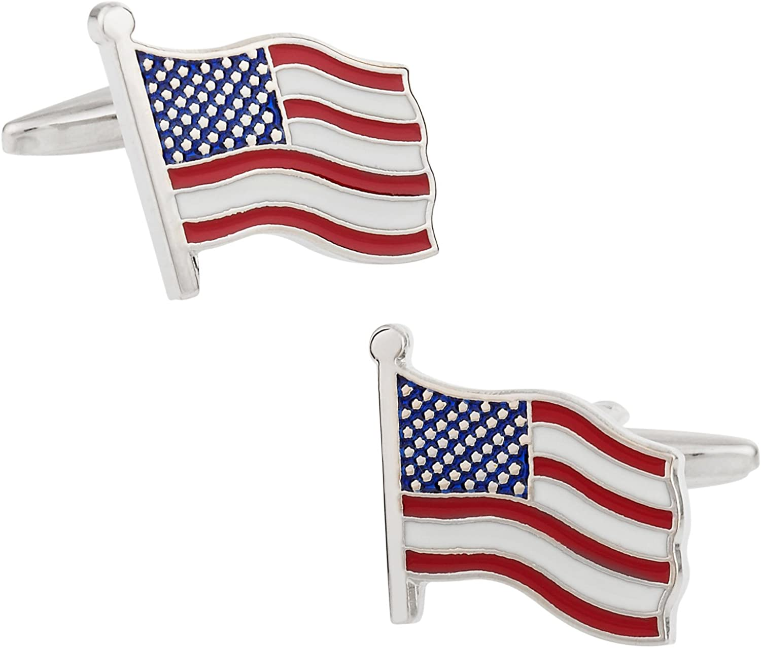 Cuff-Daddy Cheap mail order shopping outlet American Flag Cufflinks with Presentation Box Jewelry
