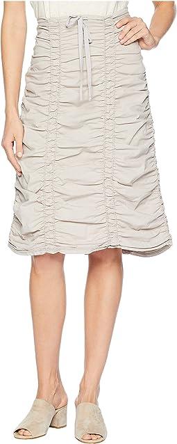 Double Shirred Panel Knee Length Skirt
