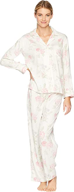 Classic Woven Pointed Notch Collar Pajama Set