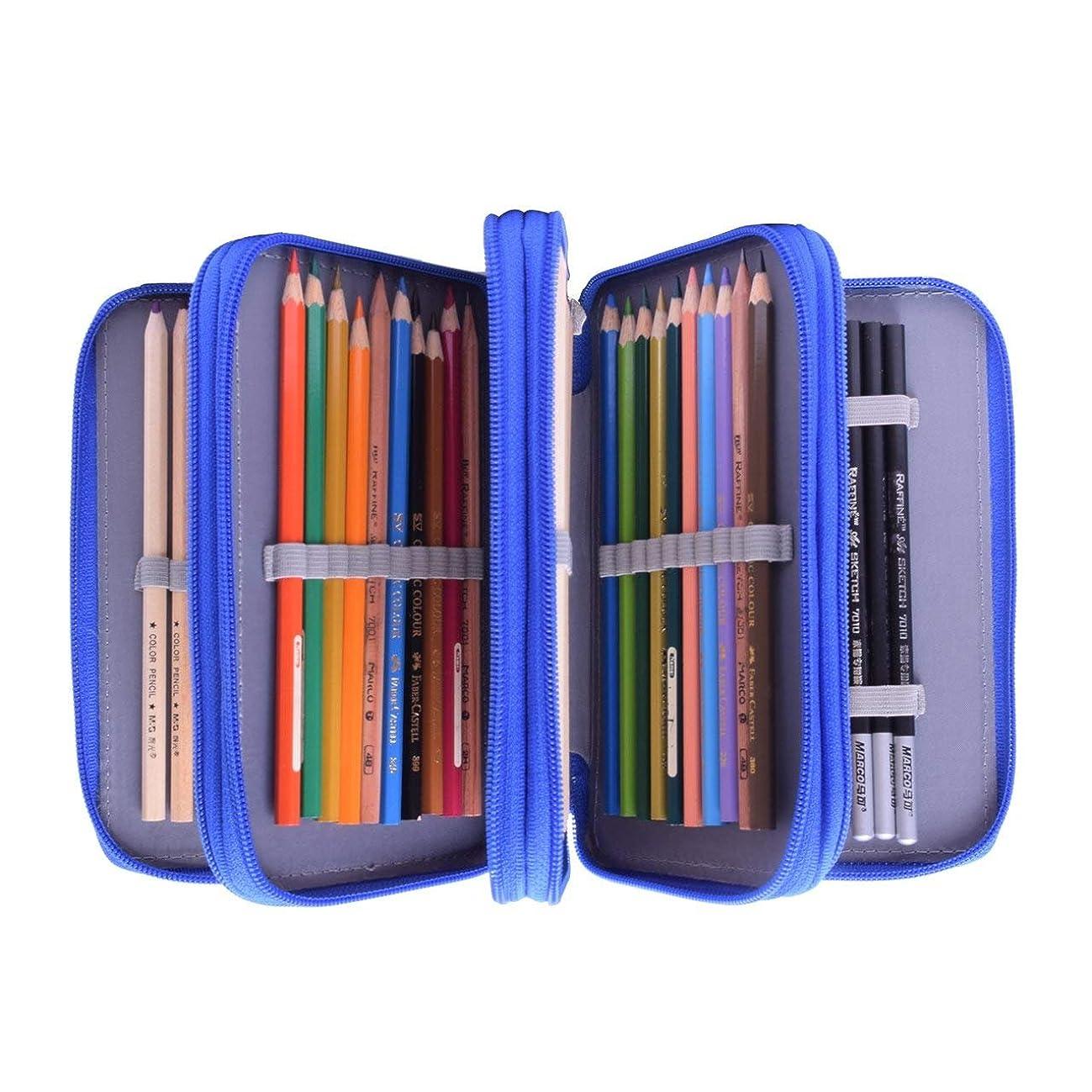 72 Slot Pencil Case Large Capacity 4-Layer Colored Pencil Holder Artist Students Pencil Case Pen Bag Pouch Portable Zipper Pencil Coloring Pencils Organizer Stationary Box Makeup Cosmetic Case Bag