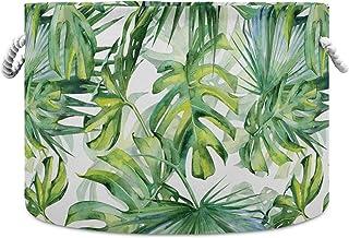 Okrągły kosz do przechowywania akwarela tropikalne liście gęsta dżungla składany wodoodporny kosz na pranie dziecięcy kosz...