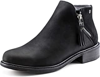 Crazy Horse Leather Waterproof Zipper Ankle Boots for Women,Mid Heel,Pig Leather Lining, Non-Slip Rubber Sole,Memory Foam Insole