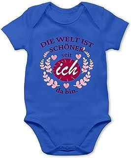 Shirtracer - Strampler Motive - Die Welt ist schöner seit ich da Bin. - Baby Body Kurzarm für Jungen und Mädchen