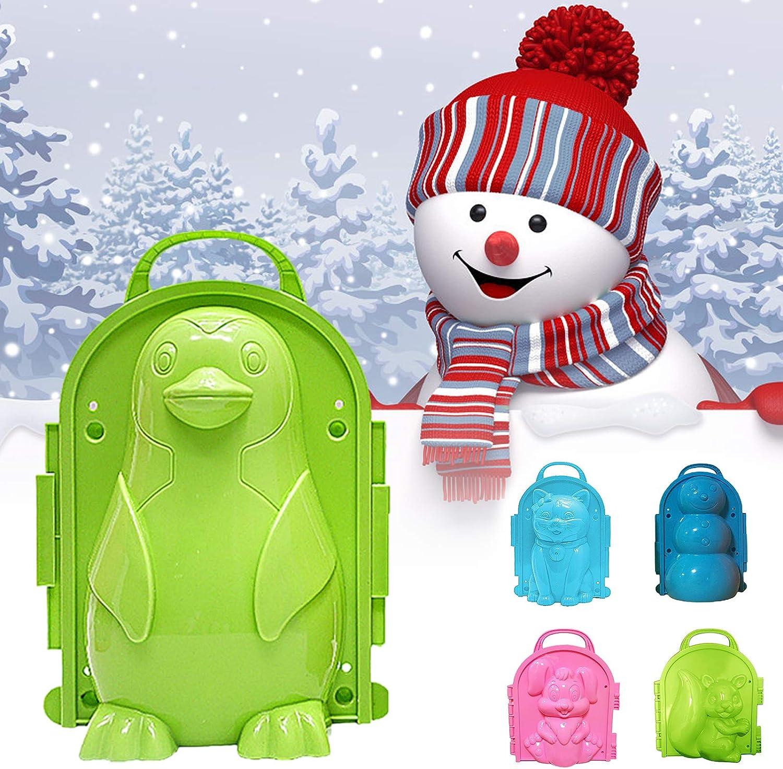Sytaun Snowball Maker Mold,Valentines Day Present,Winter Snowman Penguin Snowball Maker Clip Snow Mold Tool Kids Outdoor Play Toy Random Color Cat