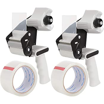 JARLINK Packing Tape Dispenser Gun (2 Pack) with 2 Rolls Tape, 2 inches Lightweight Industrial Side Loading Tape Dispenser for Shipping Packaging Moving Sealing (Grey & Black)