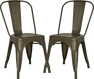 Poly and Bark Trattoria Kitchen and Dining Metal Side Chair in Bronze (Set of 2)