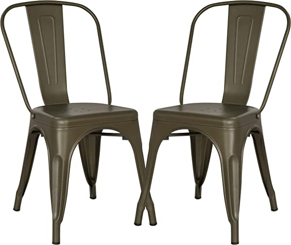 Poly And Bark Trattoria Kitchen And Dining Metal Side Chair In Bronze Set Of 2