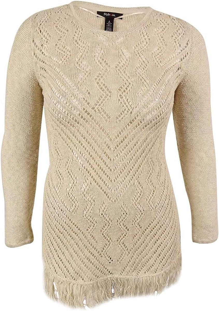Style & Co. Women's Fringe Trim Sheer Sweater