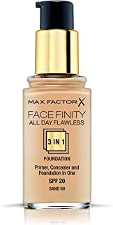 Max Factor Facefinity All Day Flawless, Liquid Foundation, 3in1, 060 Sand, 30 ml