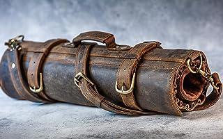 Rollo de cuchillo de cuero | Hecho a mano con cuero puro |16 cuchillos en total - 6 pequeños, 6 medianos y 4 grandes | Funda para cuchillos de viaje, marrón oscuro, 18.9″ (48 cm) wide x 31.5″ (80 cm)