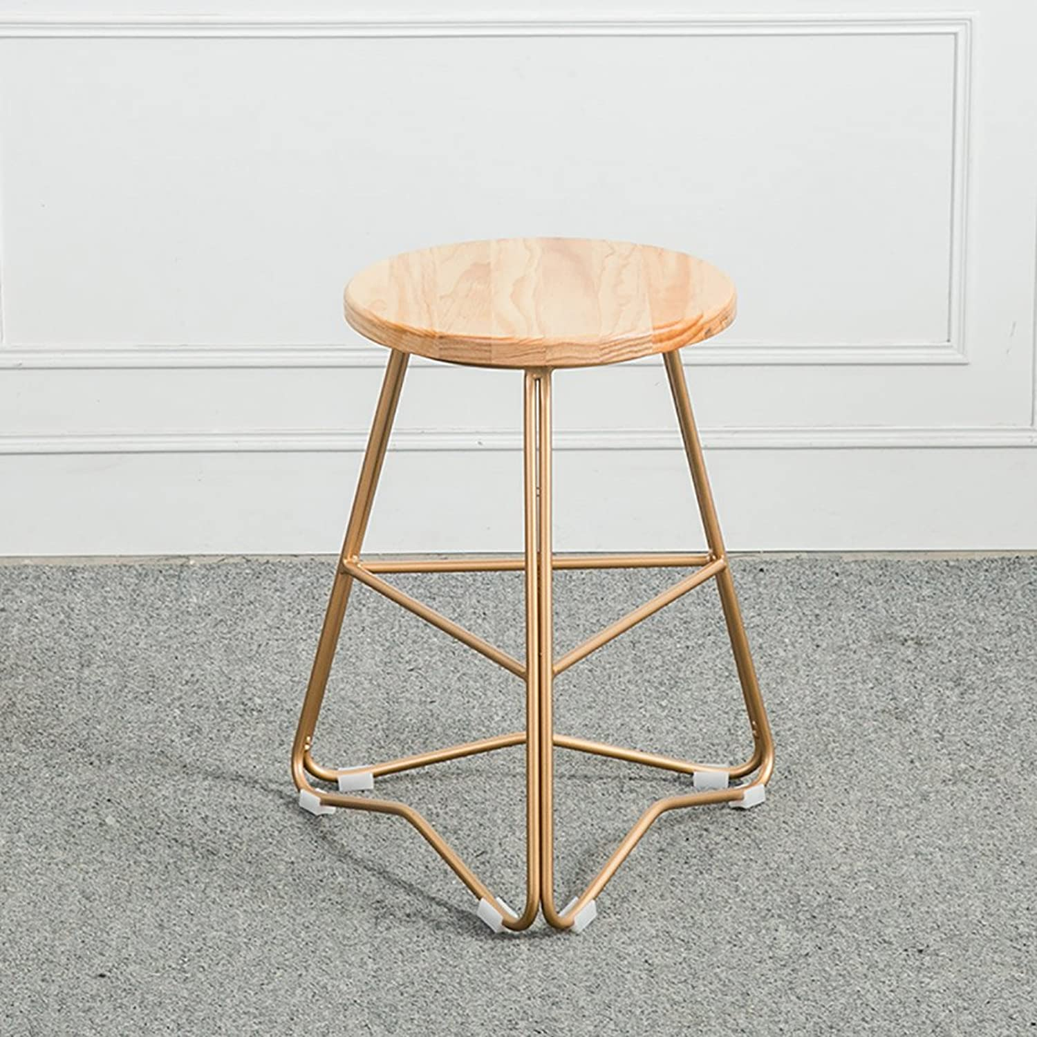 Rustic Designer Kitchen Pub Metal Bar Stool Industrial Wooden Top-Solid Nordic Wood (color   4, Size   65CM)
