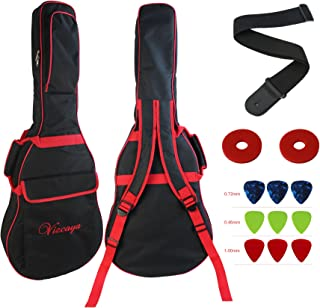 Vizcaya 41 Inch Waterproof Dual Adjustable Shoulder Strap Acoustic Guitar Gig Bag 15mm Padding Backpack with Accessories(Adult Guitar Strap,Picks,Strap Lock) -Black with Red Edge