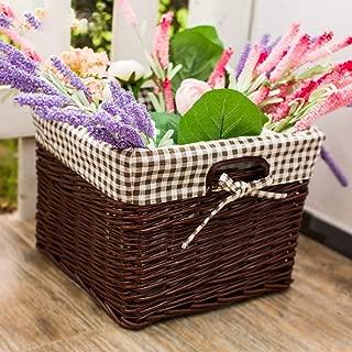 XXLJT Handmade Rattan Storage Basket Garden Storage Box Kitchen Bathroom Clothes Box Wicker Woven Basket Wardrobe Storage Box Debris Basket (Color : C)