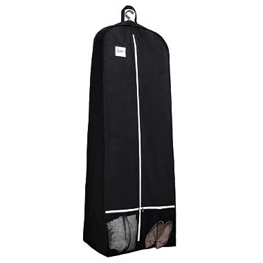 SLEEPING LAMB 72  Bridal Wedding Gown Dress Garment Bag 15  Gusseted Garment Cover Shoe Pockets Travel Garment Storage Bag for Prom, Evening Gowns, Black