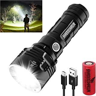 Shadowhawk Ficklampa LED, extremt ljus 4 000 lumen USB uppladdningsbar taktiska ficklampor CREE XHP70 handlampa, IP67 vatt...