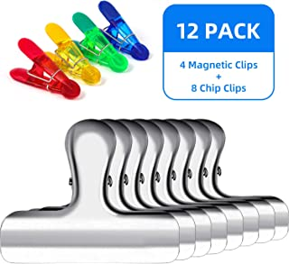 Chip Clips for Bags, 12 Pack Bulk Large Chip Clips for Kitchen Food Bags Stainless Steel Metal Clips with Cute Small Fridge Magnetic Clip for Storage Sealer Snack Package Cereal Potato Bag (Assorted)