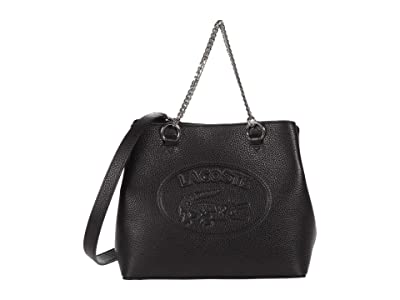 Lacoste Croco Crew Top-Handle Bag (Black) Satchel Handbags