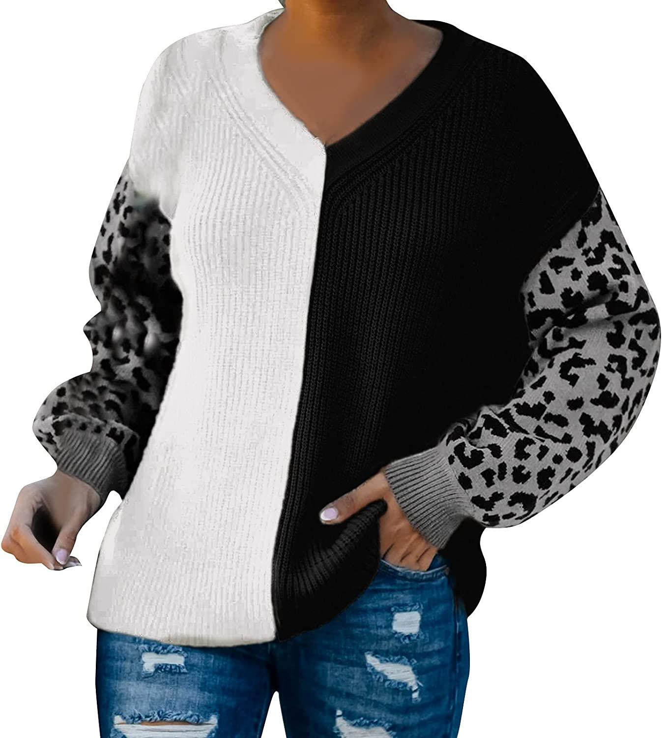 VonVonCo Fashion Pullover Sweaters for Women Casual V-Neck Knitted Splice Leopard Print Blouses Sweater Tops