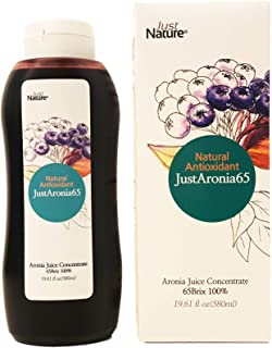 JustNature Organic Aronia Berry(Chokeberry) Juice Concentrate 19.61 Fl Oz - Made with 100% Natural Organic Aroniaberries from Poland, Mega Phytonutrients & Immune System Booster