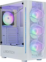 Montech X1 White ATX Mid-Tower Case/High Airflow, Front Mesh Ventilation, Tempered Glass Side Panel, Pre-Installed 4 x 120mm Autoflow RGB LED Fans