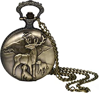 Pocket Watch for Men and Boys Vintage Bronze Cute Deer Decorative Case Arabic Numeral Dial Quartz Analog Pocket Watch with Chain for Halloween Costume Party Christmas