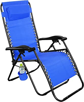 Giantex Folding Zero Gravity Reclining Lounge Chairs Outdoor Beach Patio Yard New (2Blue)