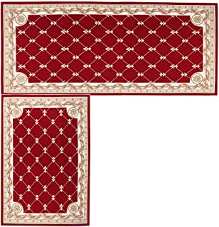 Kitchen Mat,Hihome Decorative Non-slip Polyacrylonitrile Red Kithchen Rugs Set Bathroom Mats Set Floor Mats Set Shower Rugs for Living Room (17.7
